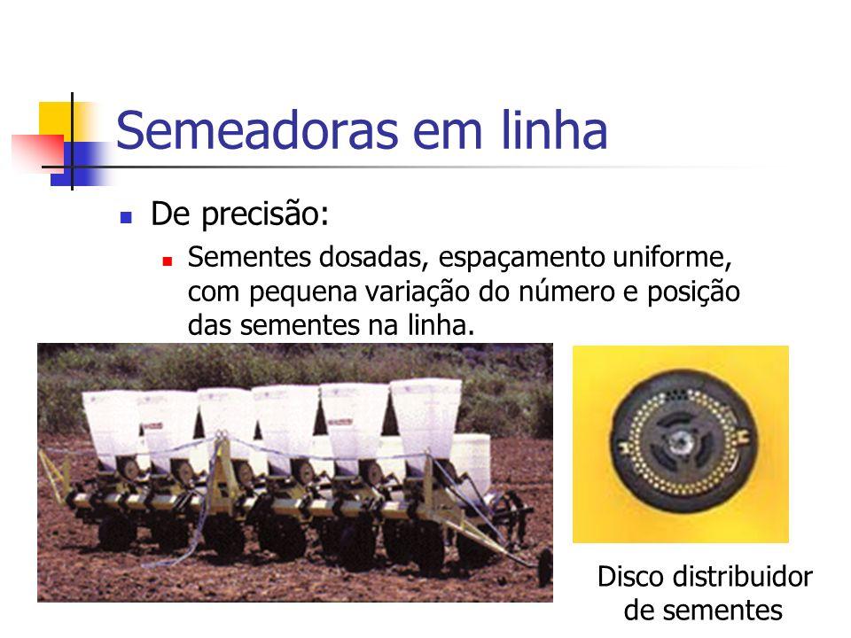 Semeadoras em linha De precisão: Sementes dosadas, espaçamento uniforme, com pequena variação do número e posição das sementes na linha. Disco distrib