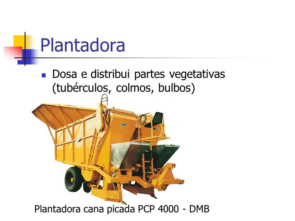 Plantadora Dosa e distribui partes vegetativas (tubérculos, colmos, bulbos) Plantadora cana picada PCP 4000 - DMB