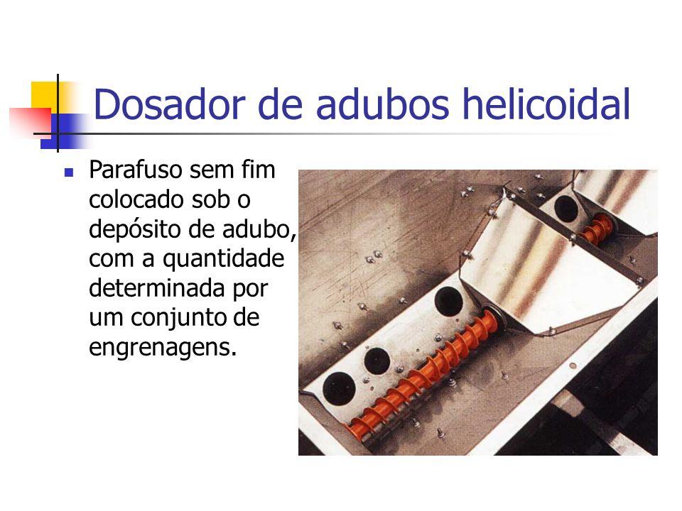 Parafuso sem fim colocado sob o depósito de adubo, com a quantidade determinada por um conjunto de engrenagens. Dosador de adubos helicoidal