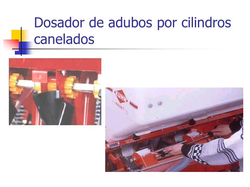 Dosador de adubos por cilindros canelados