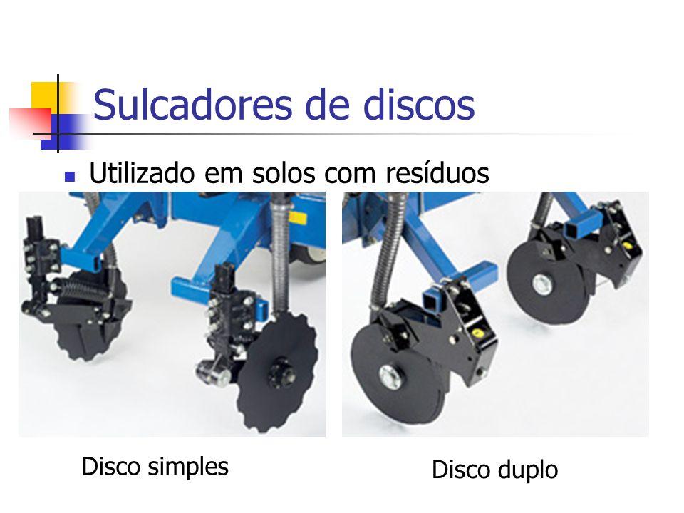 Utilizado em solos com resíduos Sulcadores de discos Disco simples Disco duplo