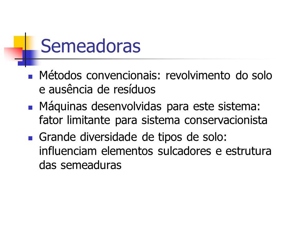 Semeadoras Métodos convencionais: revolvimento do solo e ausência de resíduos Máquinas desenvolvidas para este sistema: fator limitante para sistema c