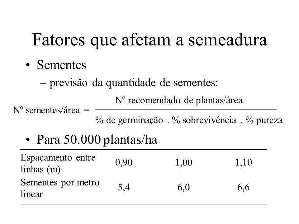 Fatores que afetam a semeadura Sementes –previsão da quantidade de sementes: Nº sementes/área = Nº recomendado de plantas/área % de germinação. % sobr