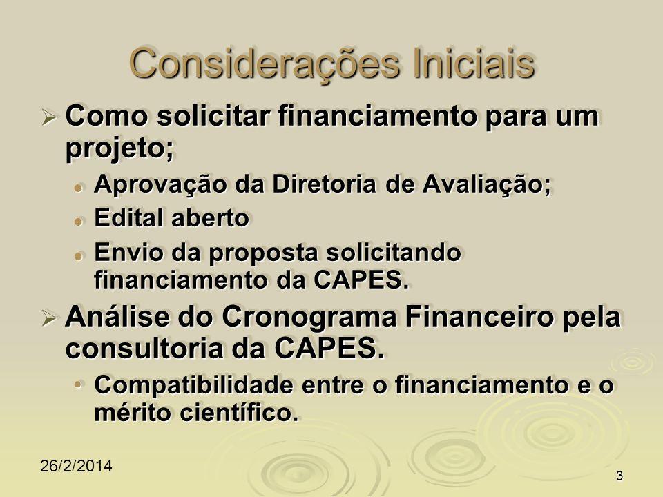 26/2/2014 3 Considerações Iniciais Como solicitar financiamento para um projeto; Como solicitar financiamento para um projeto; Aprovação da Diretoria de Avaliação; Aprovação da Diretoria de Avaliação; Edital aberto Edital aberto Envio da proposta solicitando financiamento da CAPES.