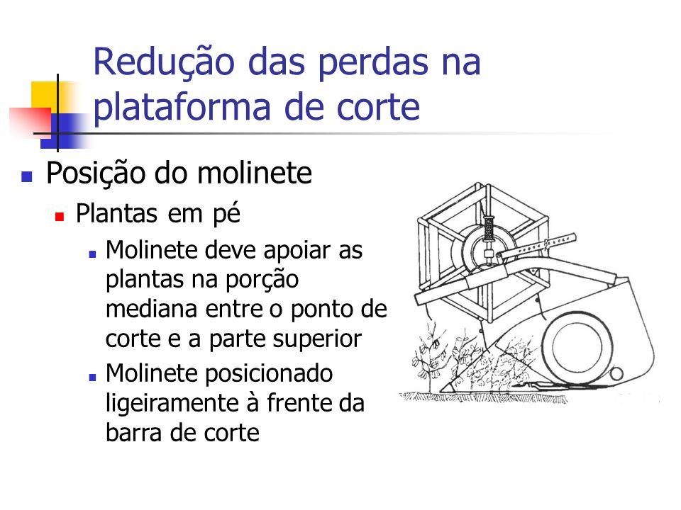 Redução das perdas na plataforma de corte Posição do molinete Plantas em pé Molinete deve apoiar as plantas na porção mediana entre o ponto de corte e