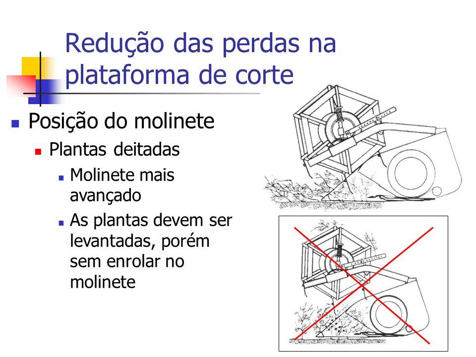 Redução das perdas na plataforma de corte Posição do molinete Plantas deitadas Molinete mais avançado As plantas devem ser levantadas, porém sem enrol
