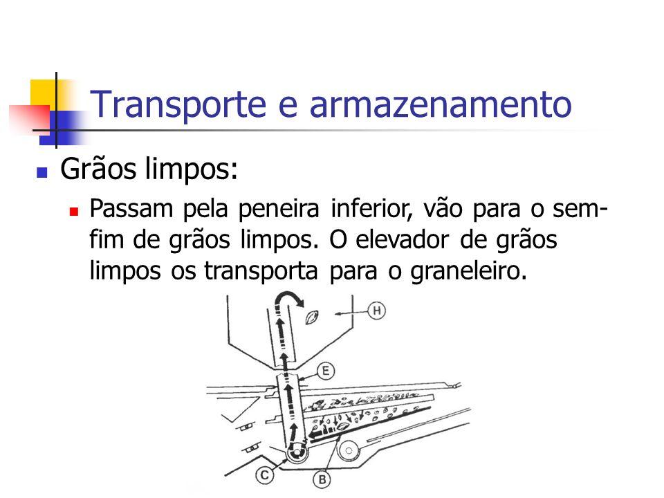 Transporte e armazenamento Grãos limpos: Passam pela peneira inferior, vão para o sem- fim de grãos limpos. O elevador de grãos limpos os transporta p