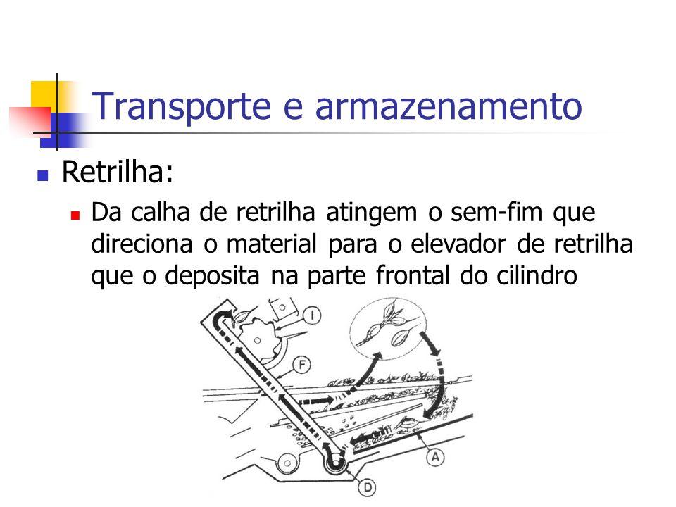 Transporte e armazenamento Retrilha: Da calha de retrilha atingem o sem-fim que direciona o material para o elevador de retrilha que o deposita na par