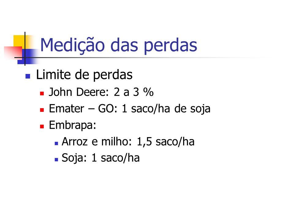 Medição das perdas Limite de perdas John Deere: 2 a 3 % Emater – GO: 1 saco/ha de soja Embrapa: Arroz e milho: 1,5 saco/ha Soja: 1 saco/ha