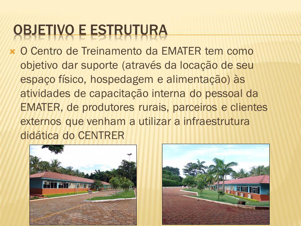 O Centro de Treinamento da EMATER tem como objetivo dar suporte (através da locação de seu espaço físico, hospedagem e alimentação) às atividades de c