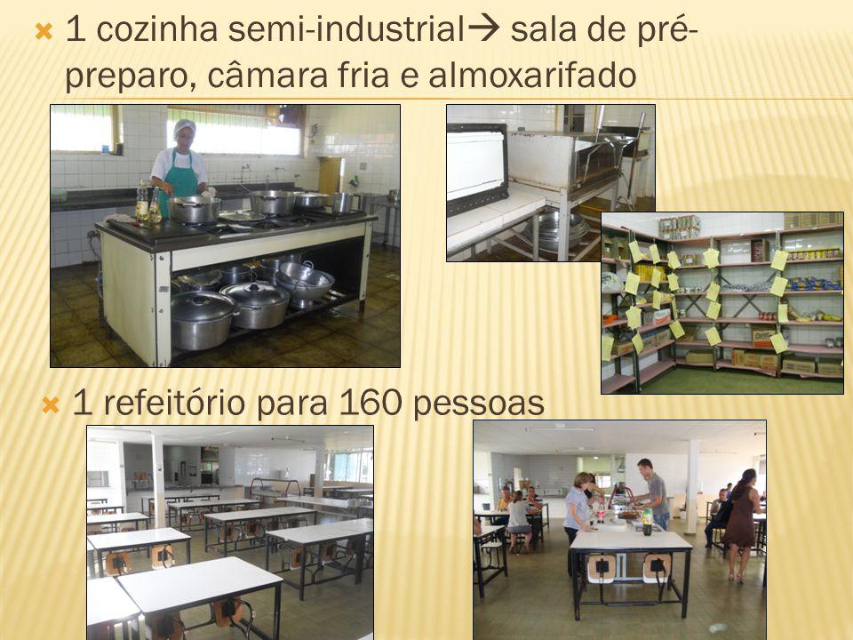 1 cozinha semi-industrial sala de pré- preparo, câmara fria e almoxarifado 1 refeitório para 160 pessoas