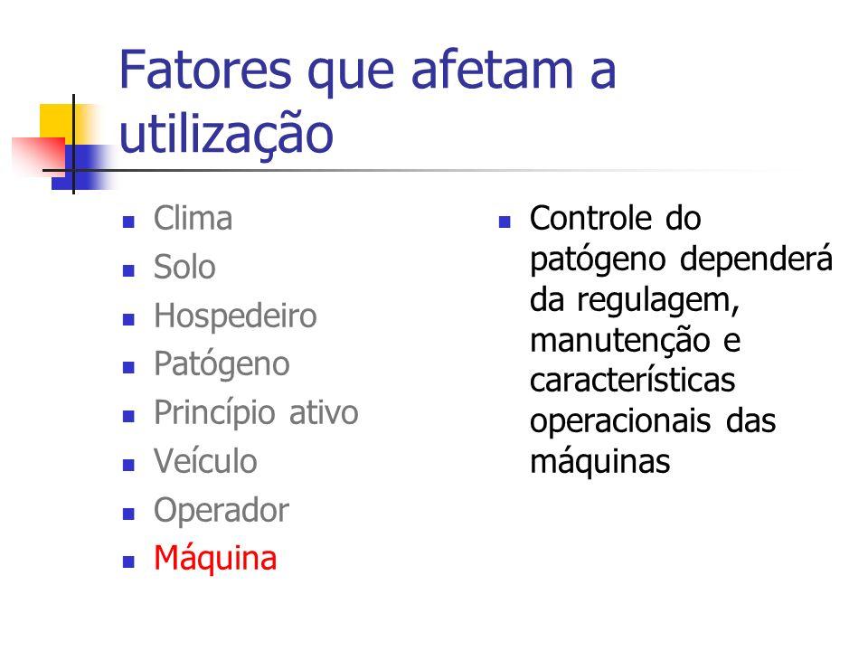 Fatores que afetam a utilização Clima Solo Hospedeiro Patógeno Princípio ativo Veículo Operador Máquina Controle do patógeno dependerá da regulagem, m