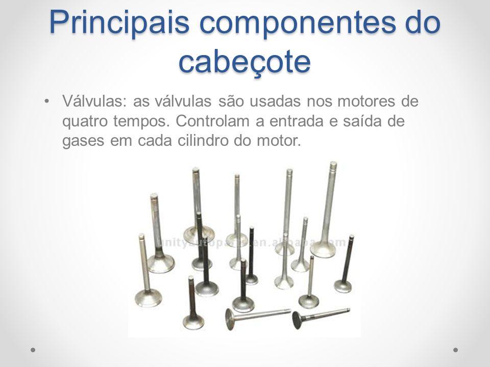 Principais componentes do cabeçote Válvulas: as válvulas são usadas nos motores de quatro tempos. Controlam a entrada e saída de gases em cada cilindr