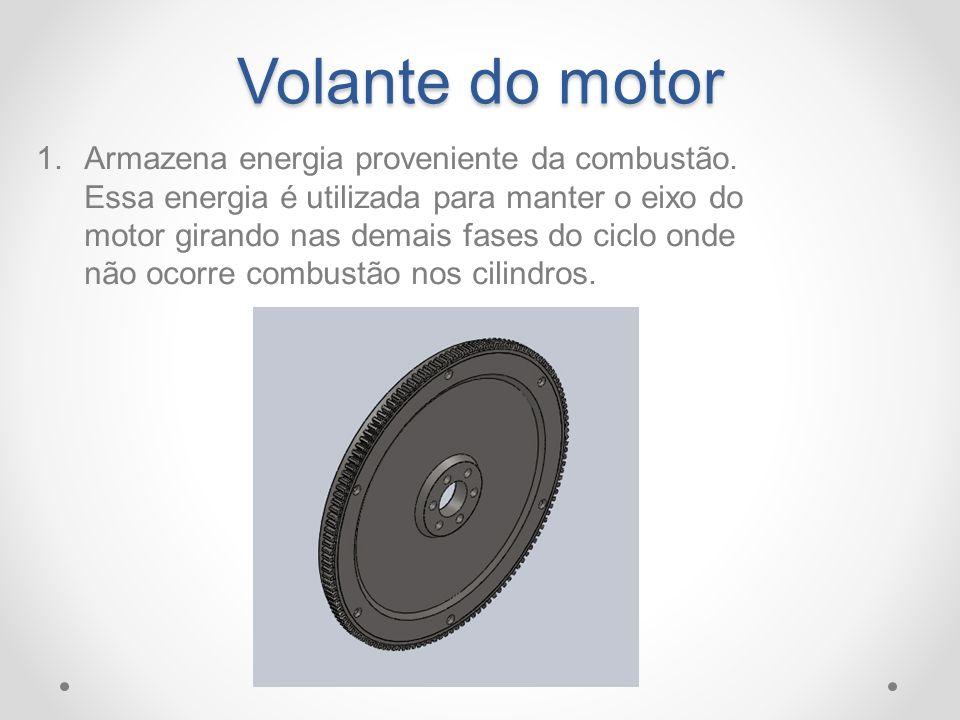 Volante do motor 1.Armazena energia proveniente da combustão. Essa energia é utilizada para manter o eixo do motor girando nas demais fases do ciclo o