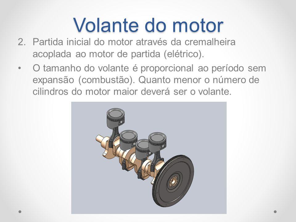 Volante do motor 2.Partida inicial do motor através da cremalheira acoplada ao motor de partida (elétrico). O tamanho do volante é proporcional ao per