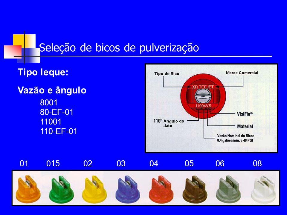 Seleção de bicos de pulverização Vazão Série X- Baixa vazão com gotas pequenas.