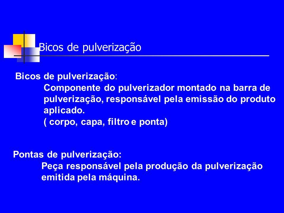 Pontas de pulverização Funções das pontas: 1.Determinar a vazão; 2.Produzir gotas e 3.Proporcionar a distribuição do líquido