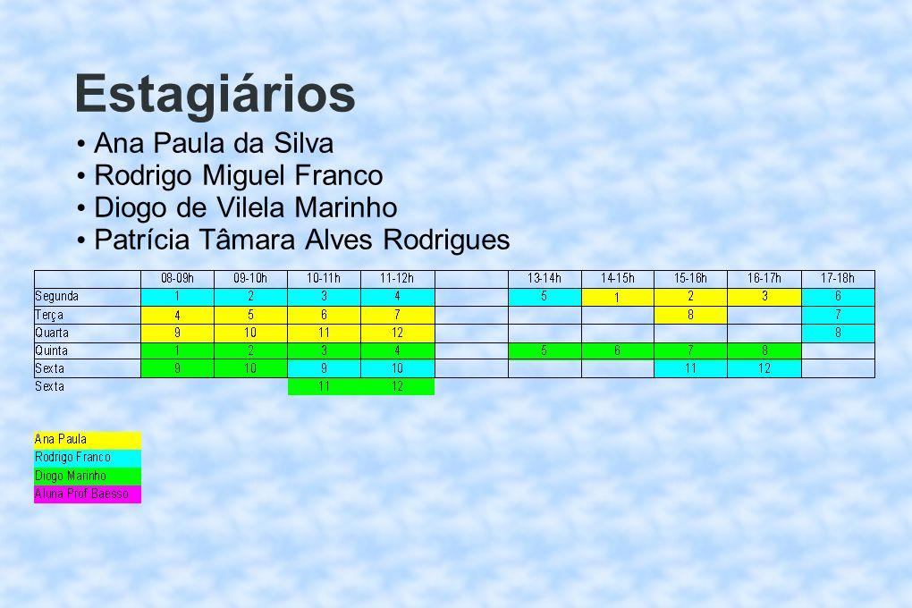 Estagiários Ana Paula da Silva Rodrigo Miguel Franco Diogo de Vilela Marinho Patrícia Tâmara Alves Rodrigues