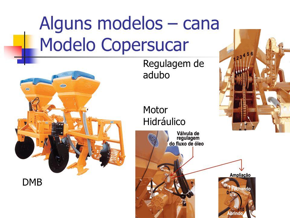Alguns modelos – cana Modelo Copersucar DMB Regulagem de adubo Motor Hidráulico