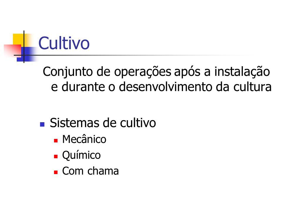 Cultivo Conjunto de operações após a instalação e durante o desenvolvimento da cultura Sistemas de cultivo Mecânico Químico Com chama