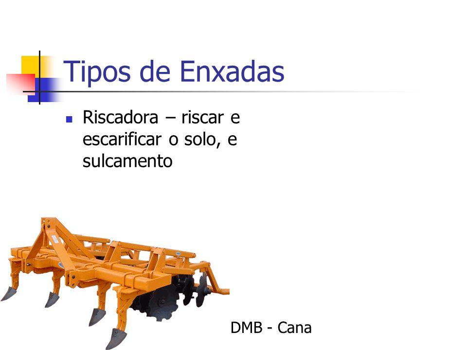 Tipos de Enxadas Riscadora – riscar e escarificar o solo, e sulcamento DMB - Cana