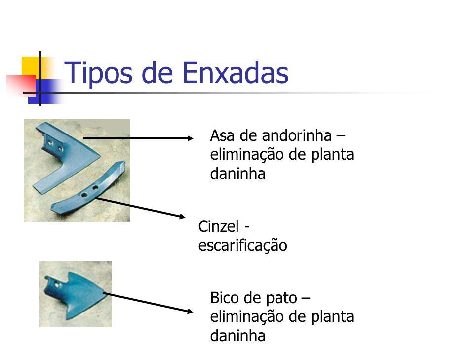 Tipos de Enxadas Bico de pato – eliminação de planta daninha Cinzel - escarificação Asa de andorinha – eliminação de planta daninha