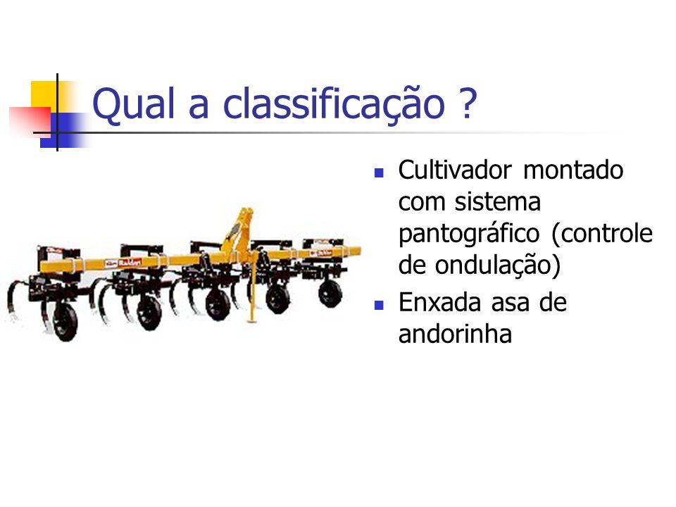 Qual a classificação ? Cultivador montado com sistema pantográfico (controle de ondulação) Enxada asa de andorinha