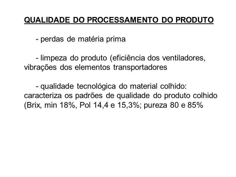 QUALIDADE DO PROCESSAMENTO DO PRODUTO - perdas de matéria prima - limpeza do produto (eficiência dos ventiladores, vibrações dos elementos transportad