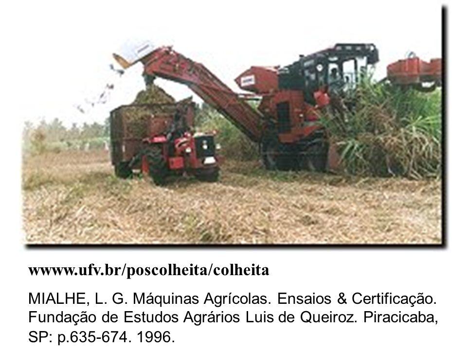 wwww.ufv.br/poscolheita/colheita MIALHE, L. G. Máquinas Agrícolas. Ensaios & Certificação. Fundação de Estudos Agrários Luis de Queiroz. Piracicaba, S