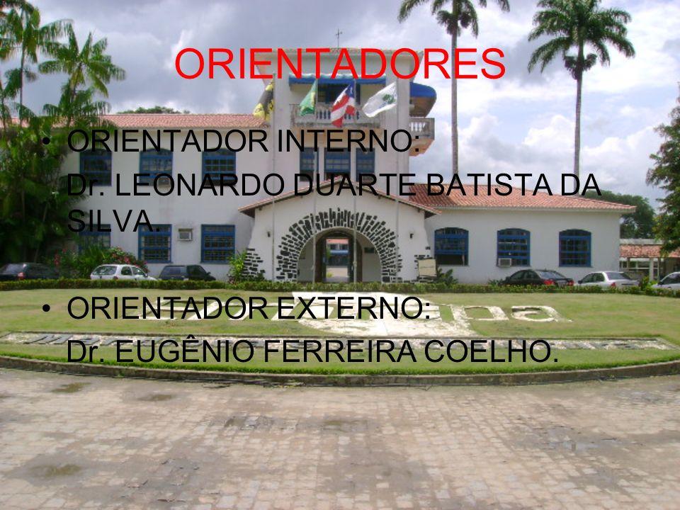 ORIENTADORES ORIENTADOR INTERNO: Dr. LEONARDO DUARTE BATISTA DA SILVA. ORIENTADOR EXTERNO: Dr. EUGÊNIO FERREIRA COELHO.
