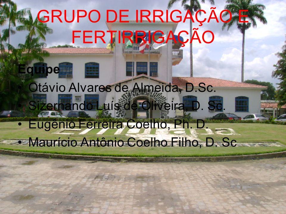 GRUPO DE IRRIGAÇÃO E FERTIRRIGAÇÃO Equipe Otávio Alvares de Almeida, D.Sc. Sizernando Luís de Oliveira, D. Sc. Eugênio Ferreira Coelho, Ph. D. Mauríci
