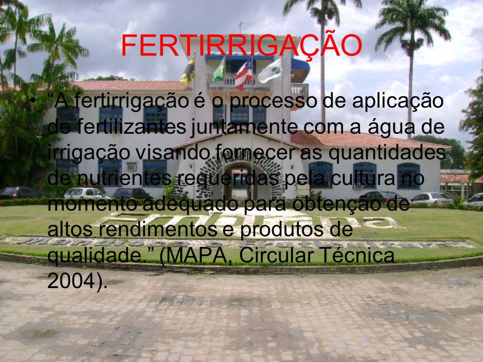 FERTIRRIGAÇÃO A fertirrigação é o processo de aplicação de fertilizantes juntamente com a água de irrigação visando fornecer as quantidades de nutrien