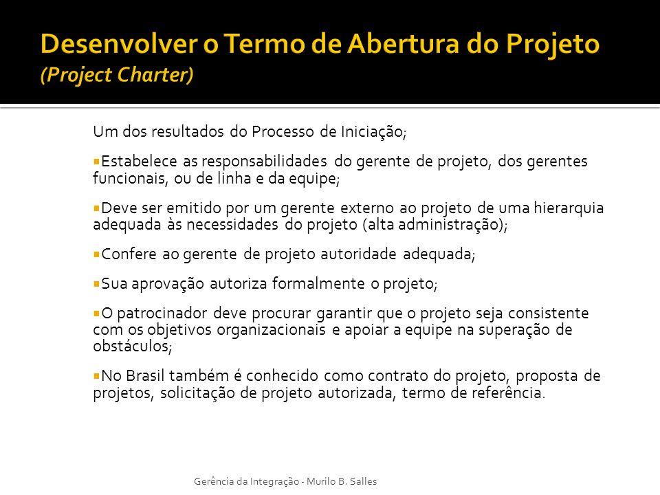 Um dos resultados do Processo de Iniciação; Estabelece as responsabilidades do gerente de projeto, dos gerentes funcionais, ou de linha e da equipe; D