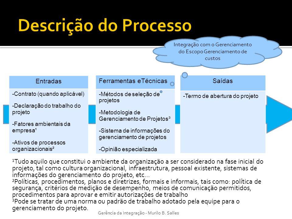 Entradas -Contrato (quando aplicável) -Declaração do trabalho do projeto -Fatores ambientais da empresa¹ -Ativos de processos organizacionais² Ferrame