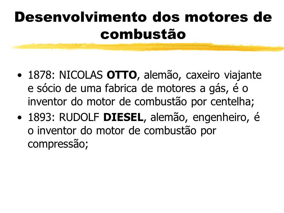 1878: NICOLAS OTTO, alemão, caxeiro viajante e sócio de uma fabrica de motores a gás, é o inventor do motor de combustão por centelha; 1893: RUDOLF DI