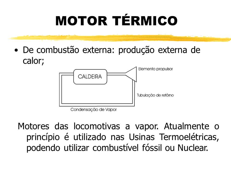 MOTOR TÉRMICO De combustão externa: produção externa de calor; Motores das locomotivas a vapor. Atualmente o princípio é utilizado nas Usinas Termoelé