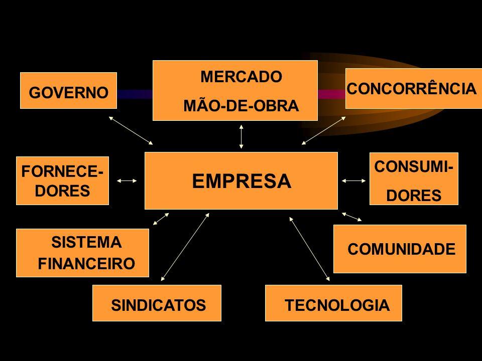EMPRESA GOVERNO MERCADO MÃO-DE-OBRA CONCORRÊNCIA FORNECE- DORES CONSUMI- DORES SISTEMA FINANCEIRO SINDICATOSTECNOLOGIA COMUNIDADE