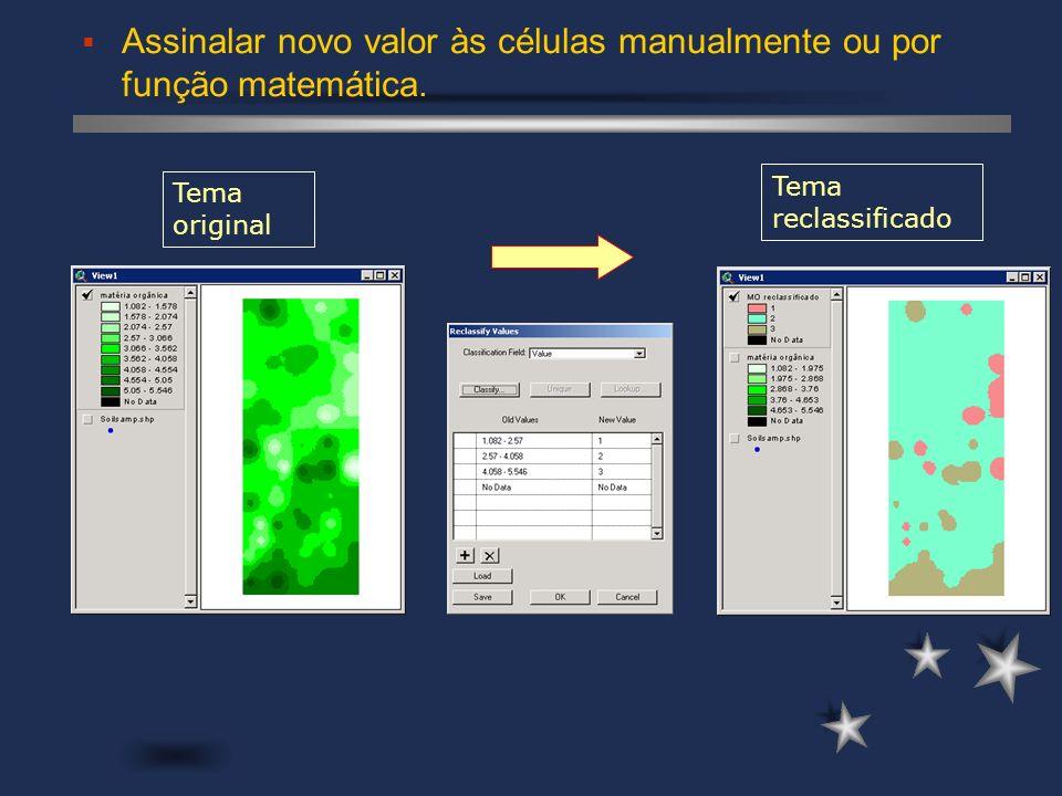 Tema reclassificado Assinalar novo valor às células manualmente ou por função matemática. Tema original