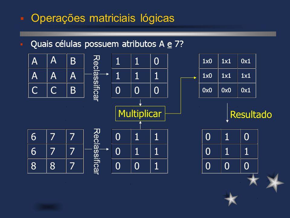 Operações matriciais lógicas Quais células possuem atributos A e 7? 110 111 000 1x0 1x10x1 1x01x1 0x0 0x1 Multiplicar Reclassificar Resultado