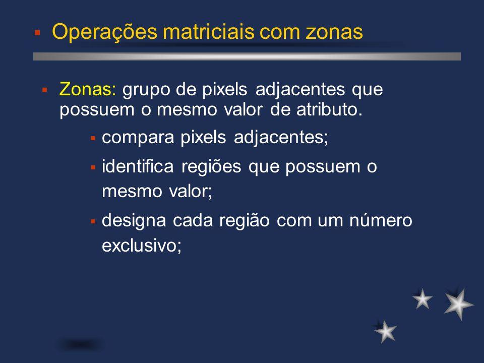 Operações matriciais com zonas Zonas: grupo de pixels adjacentes que possuem o mesmo valor de atributo. compara pixels adjacentes; identifica regiões
