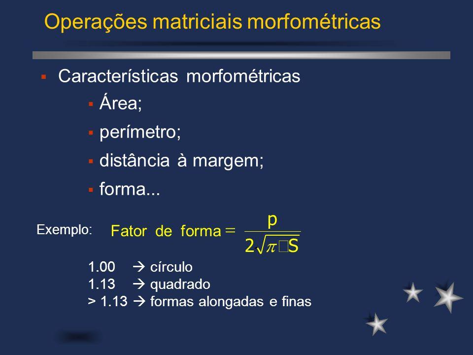 Operações matriciais morfométricas Características morfométricas Área; perímetro; distância à margem; forma... 1.00 círculo 1.13 quadrado > 1.13 forma
