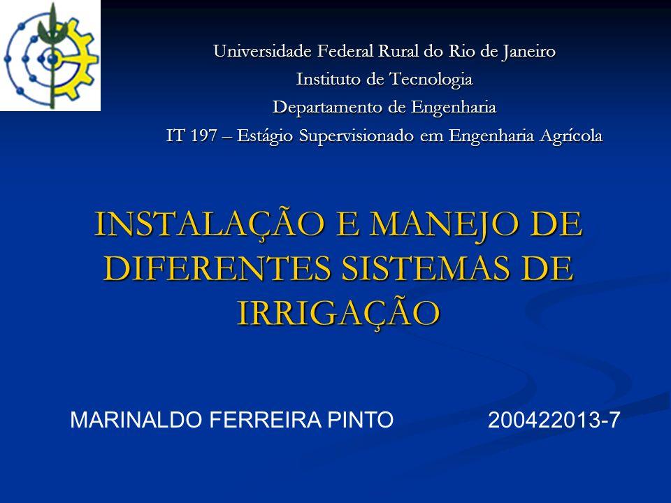 INSTALAÇÃO E MANEJO DE DIFERENTES SISTEMAS DE IRRIGAÇÃO Universidade Federal Rural do Rio de Janeiro Instituto de Tecnologia Departamento de Engenhari