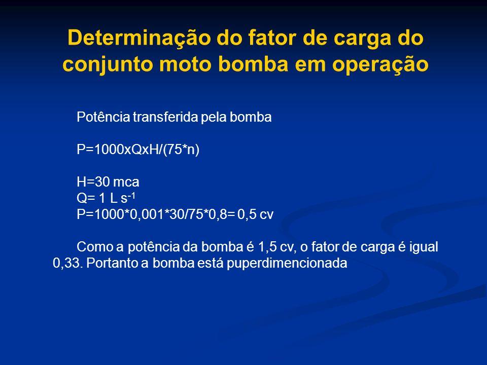 Determinação do fator de carga do conjunto moto bomba em operação Potência transferida pela bomba P=1000xQxH/(75*n) H=30 mca Q= 1 L s -1 P=1000*0,001*