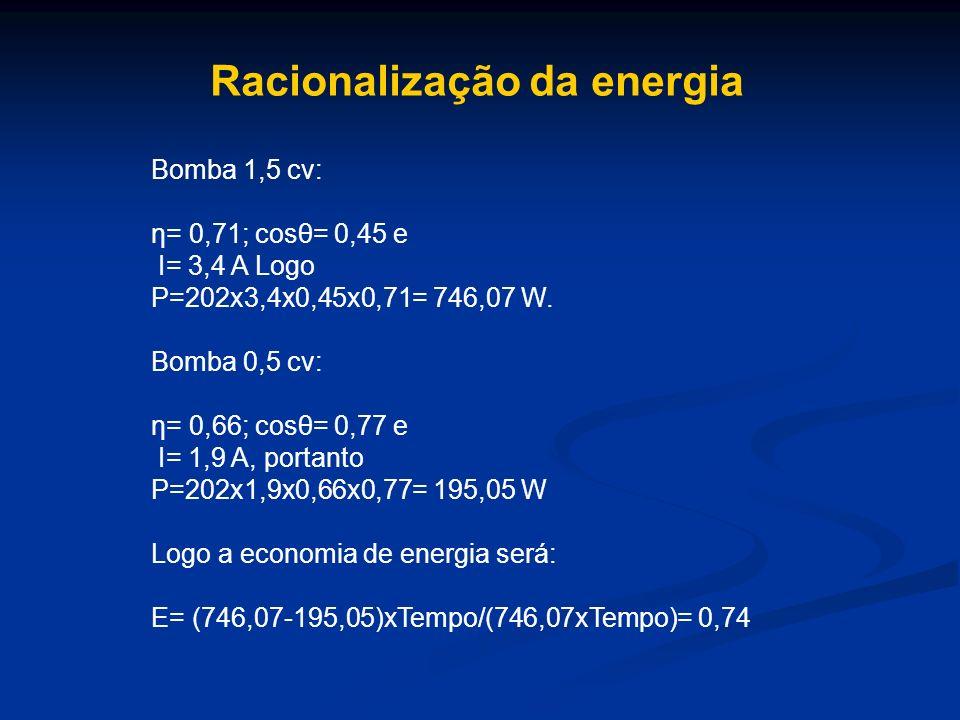 Racionalização da energia Bomba 1,5 cv: η= 0,71; cosθ= 0,45 e I= 3,4 A Logo P=202x3,4x0,45x0,71= 746,07 W. Bomba 0,5 cv: η= 0,66; cosθ= 0,77 e I= 1,9
