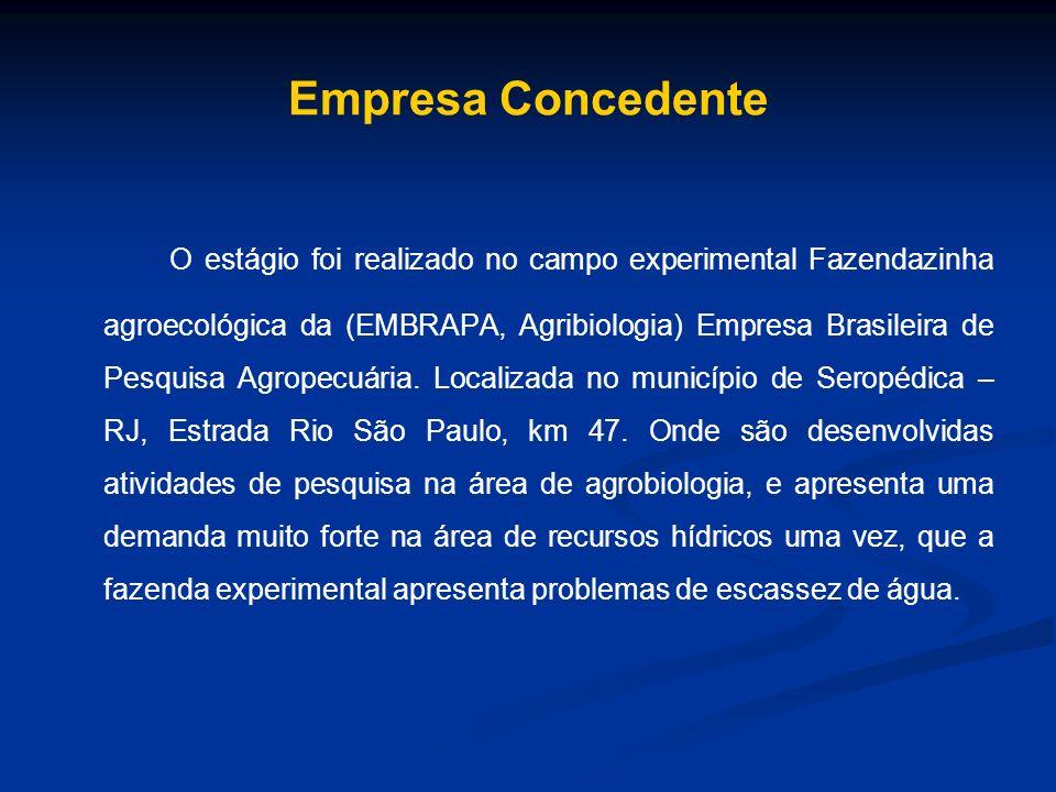 Empresa Concedente O estágio foi realizado no campo experimental Fazendazinha agroecológica da (EMBRAPA, Agribiologia) Empresa Brasileira de Pesquisa