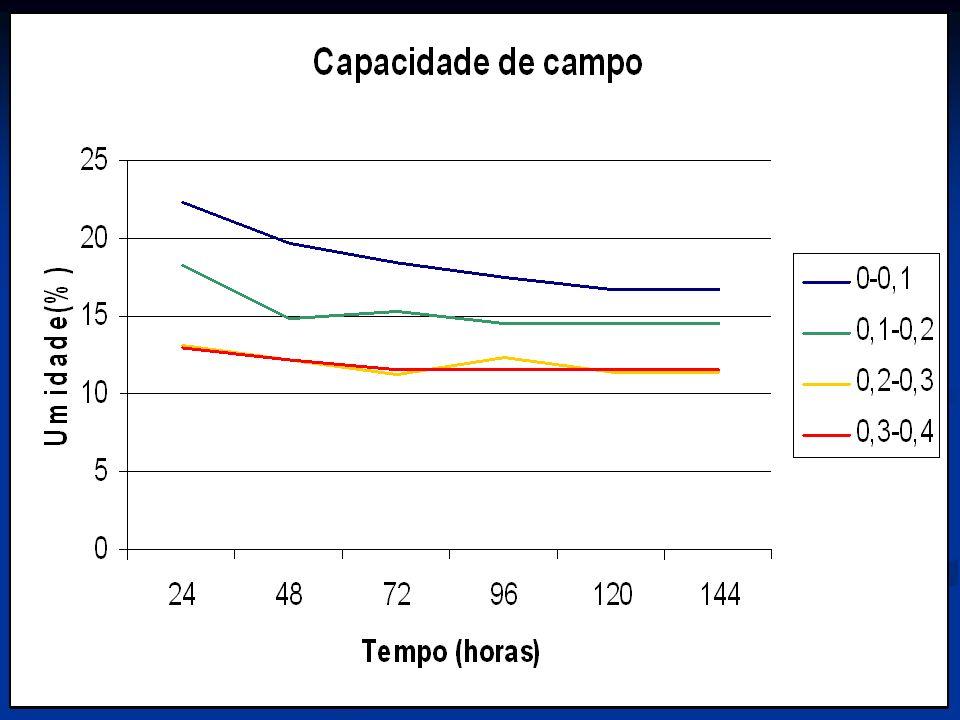 O solo apresenta uma densidade média do solo igual a 1,6 g cm-3 e uma porosidade média de 40,0 %, e capacidade de campo de 16,8, 14,6, 11,4 e 11.6 % para as profundidade de 0-10, 10-20, 20-30 e 30- 40 cm respectivamente.