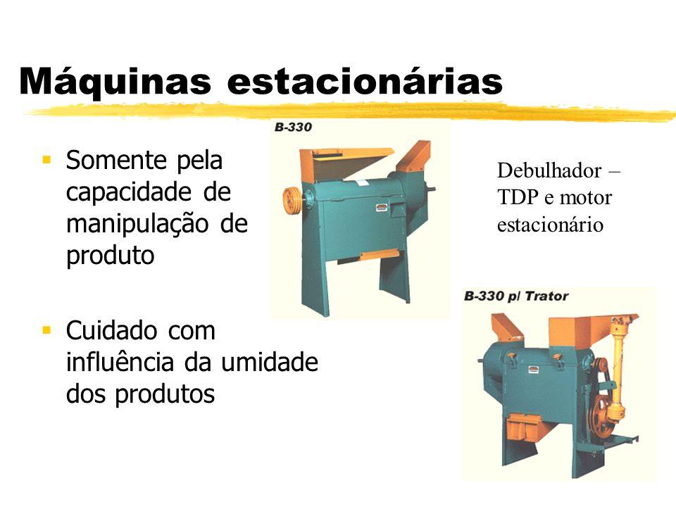 Máquinas estacionárias Somente pela capacidade de manipulação de produto Cuidado com influência da umidade dos produtos Debulhador – TDP e motor estac