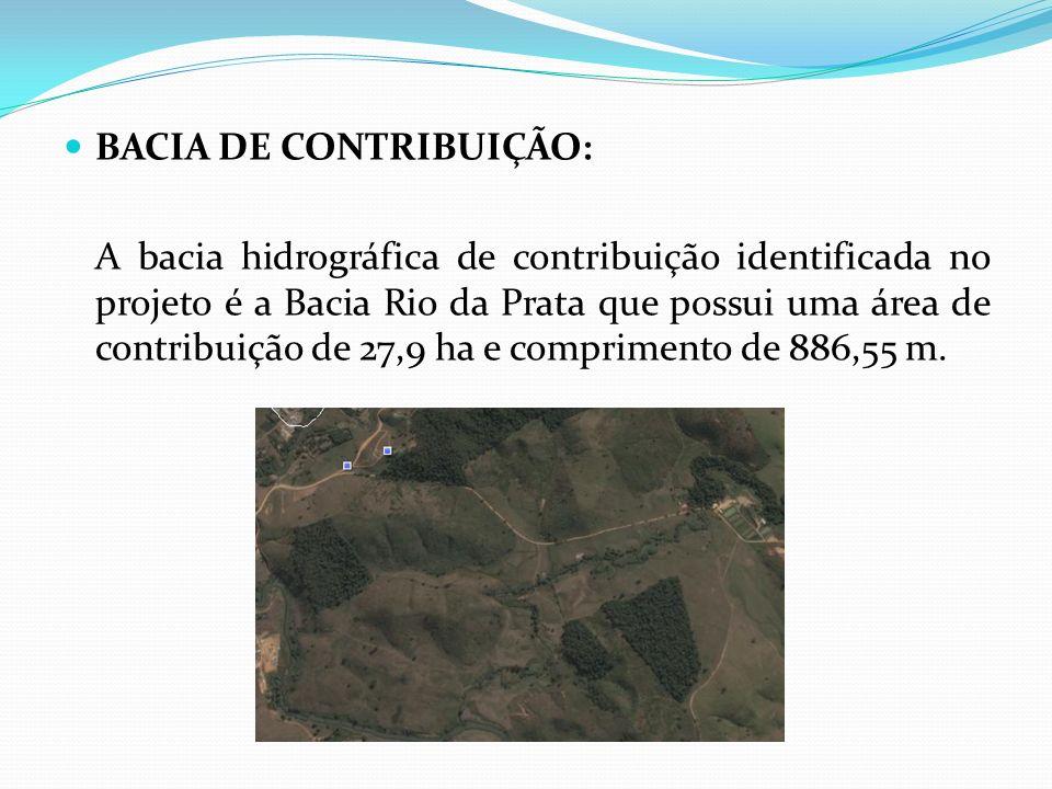 BACIA DE CONTRIBUIÇÃO: A bacia hidrográfica de contribuição identificada no projeto é a Bacia Rio da Prata que possui uma área de contribuição de 27,9