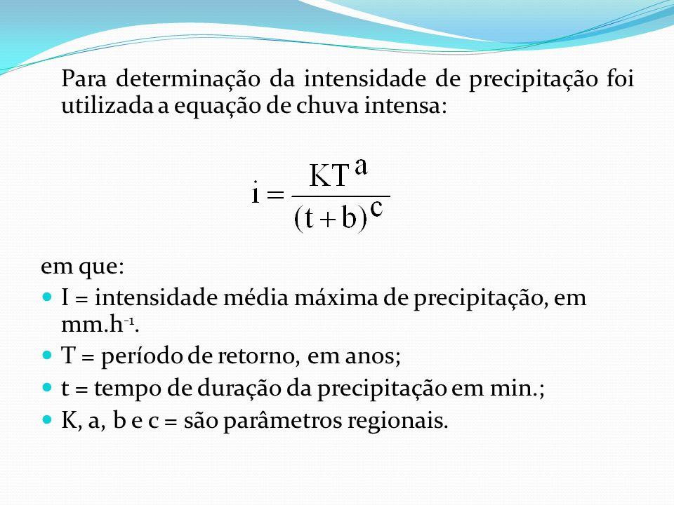 Para determinação da intensidade de precipitação foi utilizada a equação de chuva intensa: em que: I = intensidade média máxima de precipitação, em mm