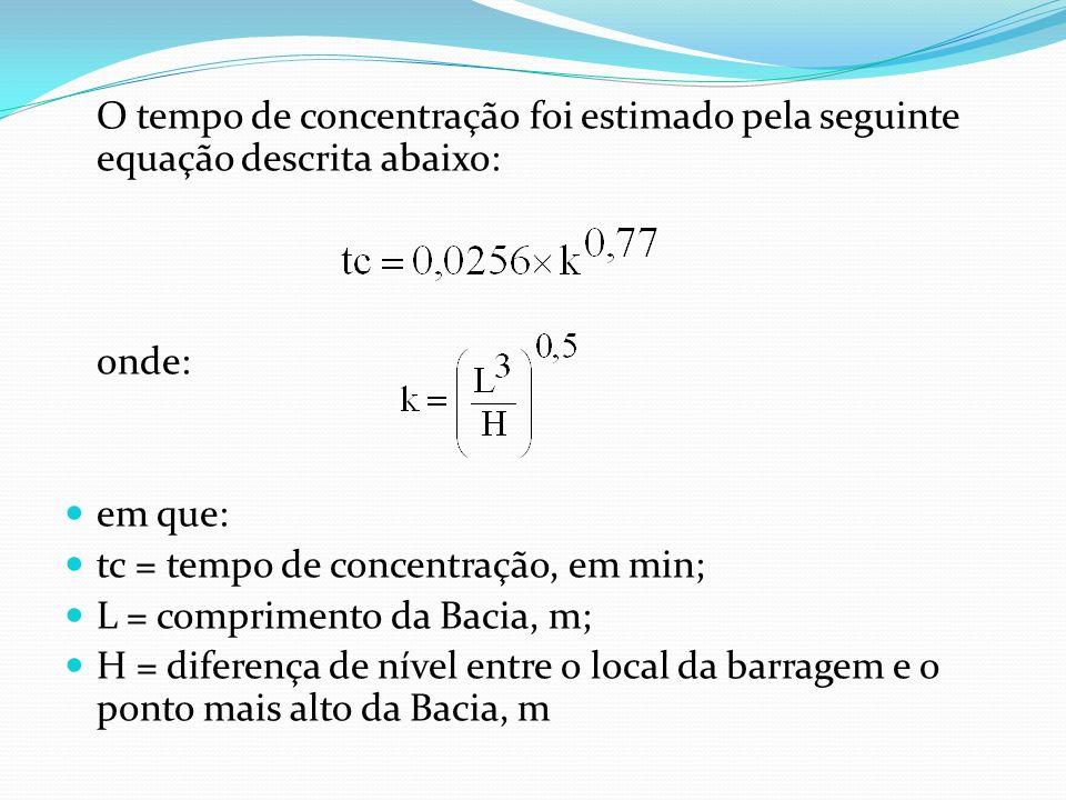 O tempo de concentração foi estimado pela seguinte equação descrita abaixo: onde: em que: tc = tempo de concentração, em min; L = comprimento da Bacia